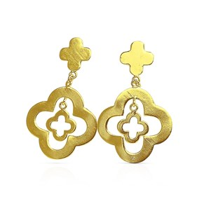 The Gold Clover Embellished Earring