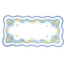 Chicks with Flowers, Easter Table Runner, Blue