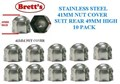 """NC41-SSB 41MM 10 PACK PAK FRONT REAR 1""""5/8 NUT COVER JAP STAINLESS STEEL 41MM SINGLE  NUT COVER CHROME CANTER MITSUBISHI ISUZU HINO NISSAN UD FUSO WHEEL NUT CAP COVER  NC41 49MM HIGH  8026SSRR 8026SS"""