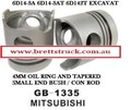 ZZZ 13251.329 PISTON BARE 6D14-3A 6D143A  MITSUBISHI ME072047 MFPS7204700 WITH 4MM OIL RING RING SET TO SUIT IS   13250.069