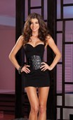 Black Underwire Mini Dress with Belt