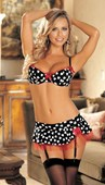 Cupids Heart Print Bra, Skirtini and G string