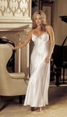 White Bridal Satin Long Gown with Cross Over Straps