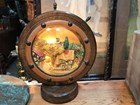 Vintage English Oak & Brass Boat Wheel Table Lamp Gingerbread Porcelain Centre