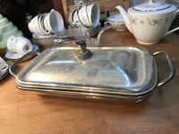 Vintage Pyrex Tureen with Chrome Holder Silver Plate Lid Duck Handle