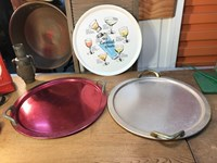 Collection of 3 Retro Vintage Barware Serving Trays Anodised The Cocktail Hour
