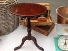 Vintage Australian Cedar Wine or Lamp Table, turned stem on 3 legs, All Cedar