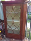 Antique Mahogany & Cedar Corner Unit with Fruitwood Inlay & Astroglaze Door