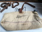 Vintage Australian Aberdeen Canvas Water Bag with Metal Hook & Leather Strap