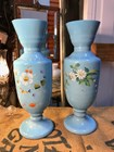 Pair of Antique English Victorian Milk Glass Mantle Vases Hand Decorated