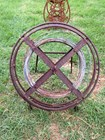 Antique Rustic Industrial Display Farmer's Cast Iron Wire Reel for Fencing