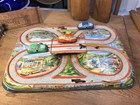 Classic vintage 1950's Technoflix Model Tin Racing Game & 3 Wind up Cars