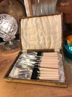 Vintage English Sheffield Silver Plate & Faux Bone Handled Fish Cutlery in Box