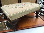 Large Antique Tapestry Top Foot Stool Cabriolet English Oak Feet