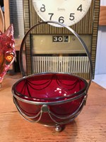 Antique Art Nouveau Late 1800s English Ruby Glass Sugar Bowl Silver Plate Basket