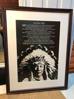 """Vintage Timber Framed Print of American Indian White Cloud """"Circle of Life"""""""