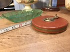 Vintage German Leather & Brass Detailed 100 Feet Retractable Measuring Tape