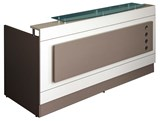 PACIFIC Glass Hob Top Reception Desk 1800mmW x 830mmD x 720/1170mmH Australian Manufacturing