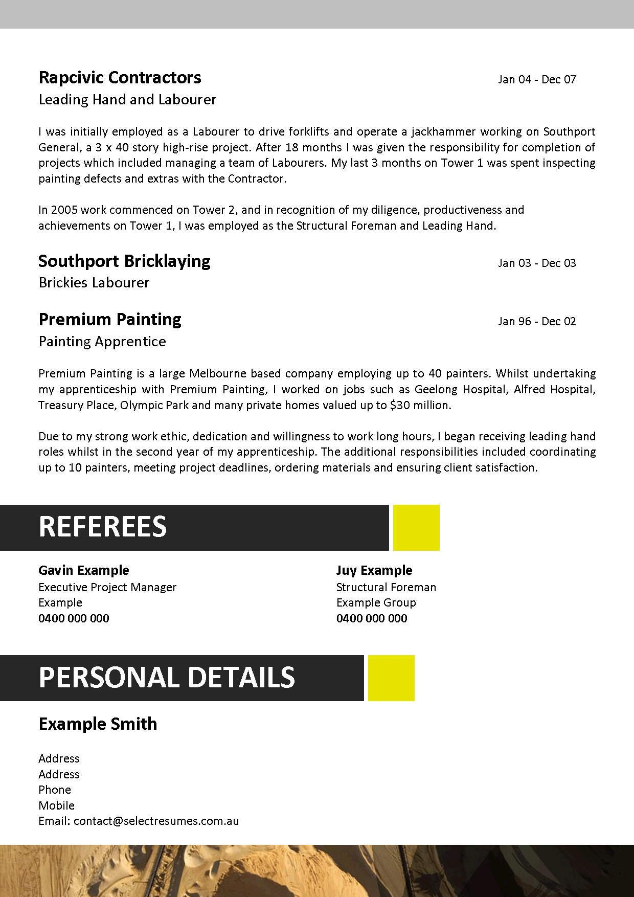 resume template mining job