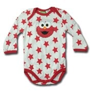 Baby Cookie Monster in Red Stars - 123 Sesame Street® Long Sleeve Body Suit Romper - Licensed & Genuine