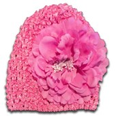 Dark Pink girl crochet knitted beanie / hats with attached flower - Babies Accessories