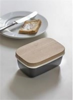 Enamel Butter Dish with wooden lid