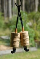 Hanging twine on recycled bobbin - single
