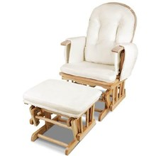 Baby Breast Feeding Sliding Glider Chair w/ Ottoman