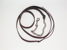 BLACK LEATHER LEAD WITH NICKEL PLATE CHAIN