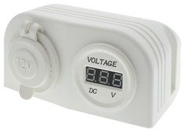 LV1783W - White Dual Surface Mount with Cigarette Socket & Digital Voltmeter