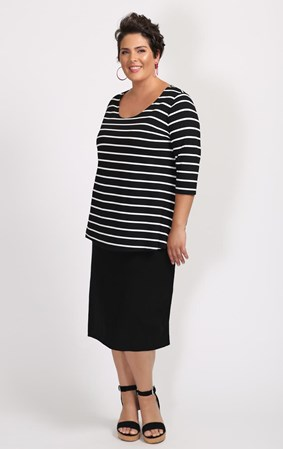FINAL SALE - Weyre - stripe relaxed scoop top