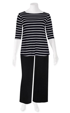 FINAL SALE - Weyre - stripe relaxed boat neck top