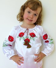 Long Sleeved Blouse For Girls Red Poppies