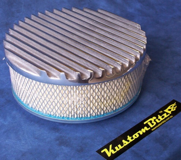 16 Inch Air Cleaner : Air cleaner inch flat top finned polished with