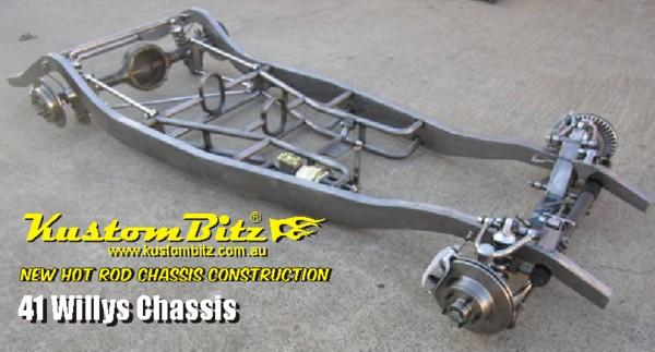 Willys Hot Rod Chassis construction 1941 Willys new reproduction Street Rod  chassis with IFS
