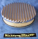 Air Cleaner 9 inch Flat Top Finned Polished with 2 inch element - Holley diameter 5' 1/8' inch neck
