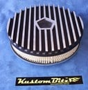 Air Cleaner 9 inch Finned BLACK Chrysler Star with 2 inch element - Holley diameter 5' 1/8' inch neck
