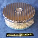 Air Cleaner 9 inch Finned POLISHED Chrysler Star with 3 inch element - Holley diameter 5' 1/8' inch neck