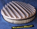 Air Cleaner 14 inch Polished Raised Fins - Holley diameter 5' 1/8' inch neck & 2 inch tall element & Flat base