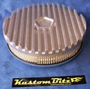 Air Cleaner 9 inch Finned RAW [Shot Blasted] Chrysler Star with 2 inch element - Holley diameter 5' 1/8' inch neck