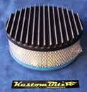 Air Cleaner 9 inch Flat Top Finned BLACK with 3 inch element - 80mm diameter neck suit Holden Gemini