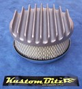 Air Cleaner 6 inch Flat Top Finned - Holley diameter 5' 1/8' inch neck - Shot blasted raw alloy finish