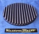Air Cleaner 9 inch Flat Top Finned Black - TOP ONLY