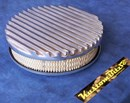 Air Cleaner 9 inch Flat Top Finned POLISHED with 2 inch element - 80mm diameter neck suit Holden Gemini