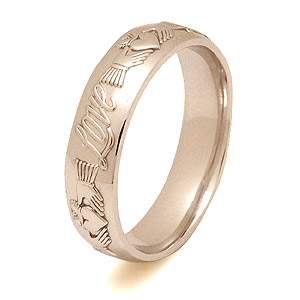 ID114 Claddagh Words - his beautiful court style ring without trims shows the Claddagh symbol,