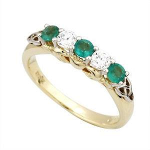 Beautiful ring perfect as a Eternity or engagment ring.Claddagh Eternity Ring 14ct Gold with 2 Diamonds and 3 Emeralds