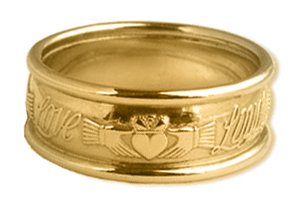 "ID107 Claddagh Words - Mens and has three words written on the ring saying ""Love, Loyalty, Friendship"". 14ct White and Yellow gold.,"