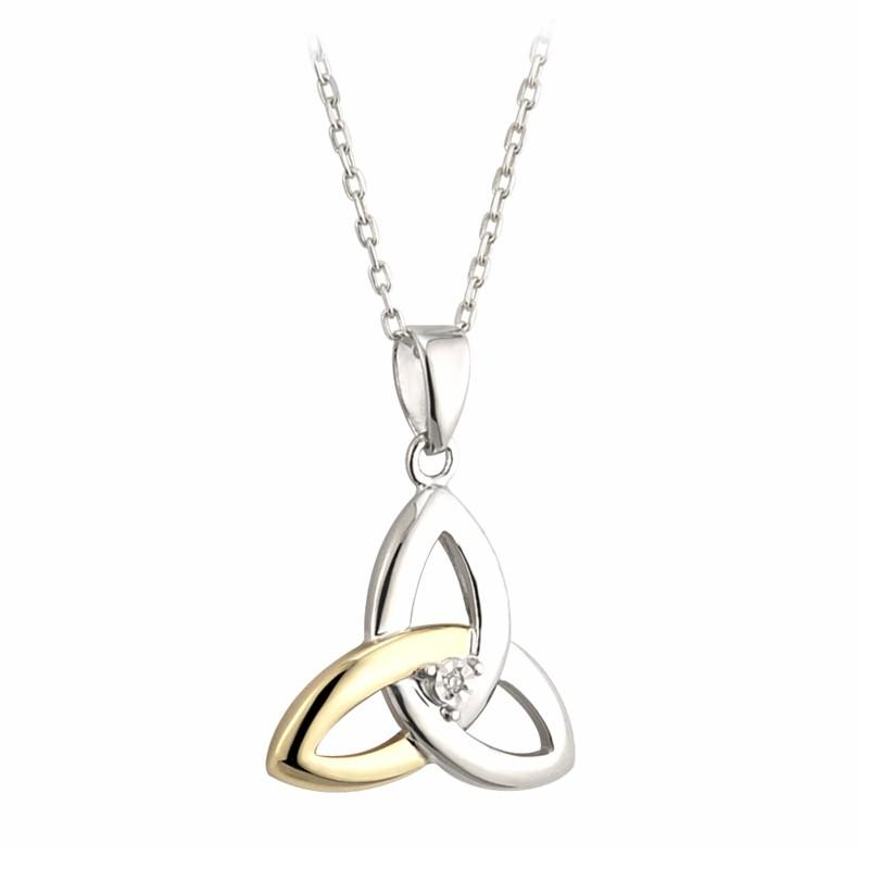 New Trinity Knot Pendant With A Diamond S45347,Pendant is supplied with a chain. Measurements 5/8''wide & 3/4'' long.