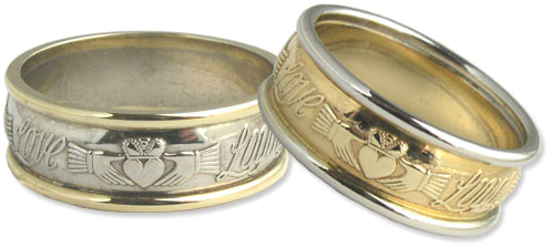 """ID107 Claddagh Words - Ladies ,and has three words written on the ring saying """"Love, Loyalty, Friendship"""". 14ct White and Yellow gold."""