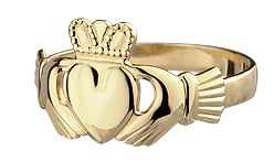 Traditional Claddagh Ring ,This claddagh is a flat heart version of the ring. Meaning the heart is not puffed